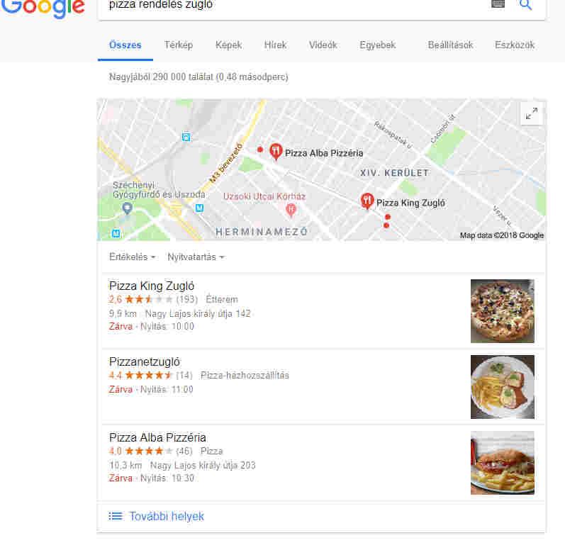 Google Cégem pizza Zugló