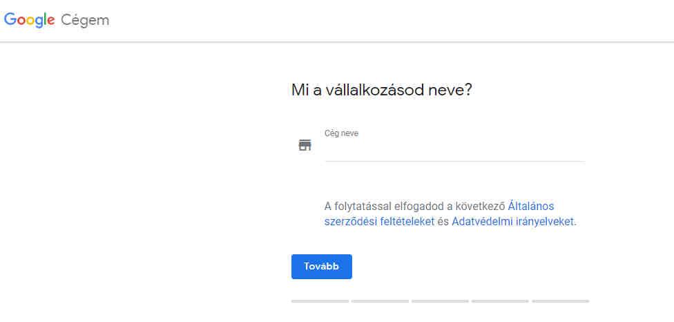 google cégem fiók regisztráció 1