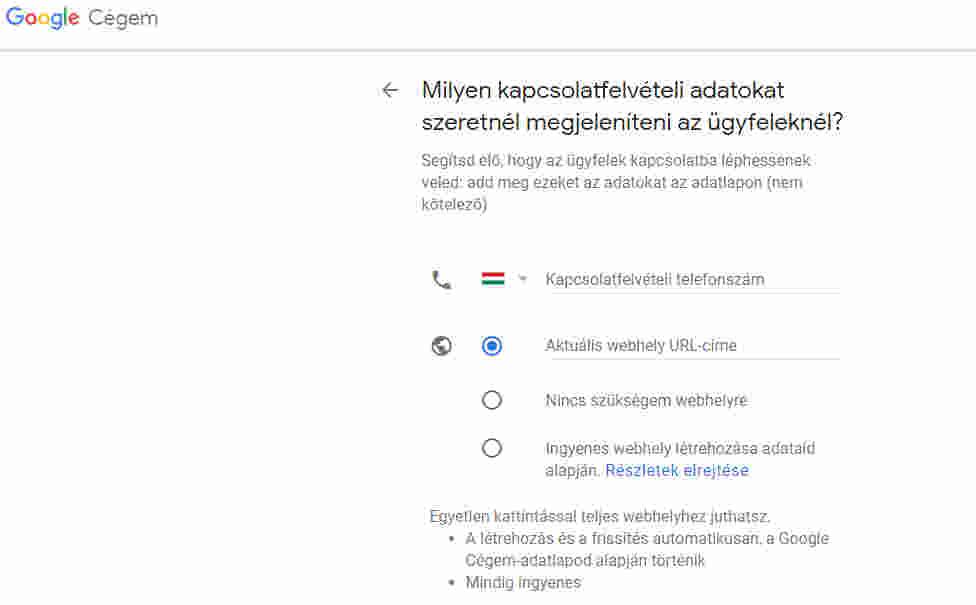 google cégem kapcsolatfelvételi adatok
