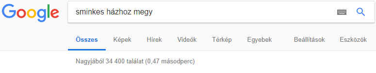 Google kereső találati lista sminkes házhoz megy