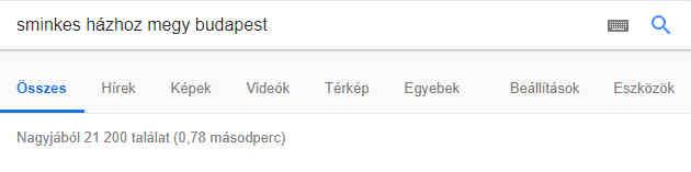 Google találati lista sminkes házhoz megy Budapest