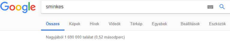 Google kereső sminkes kulcsszó