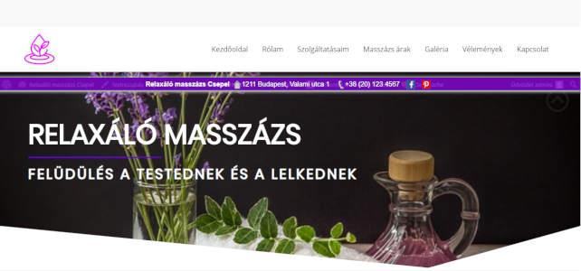 masszázs vállalkozás weboldal minta