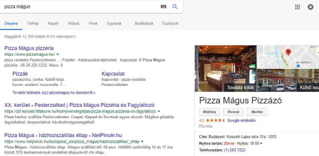 Google Cégem-étterem neve
