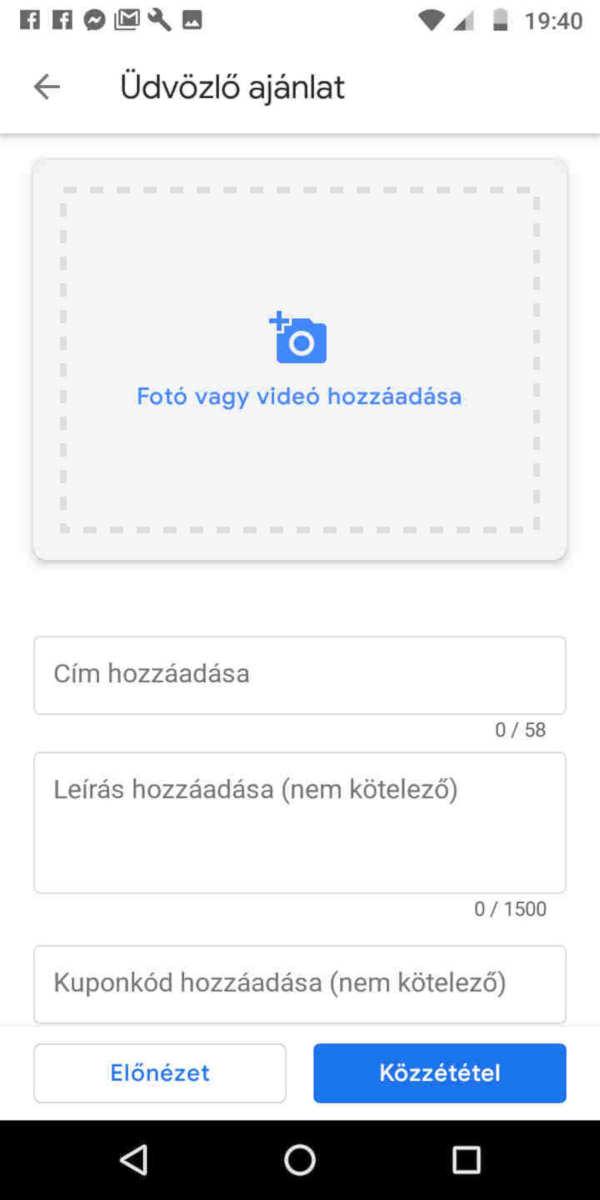 Google Cégem fiók üdvözlő ajánlat